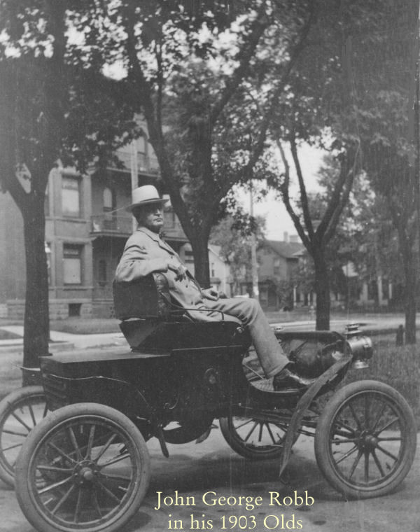 John George Robb in his 1903 Olds